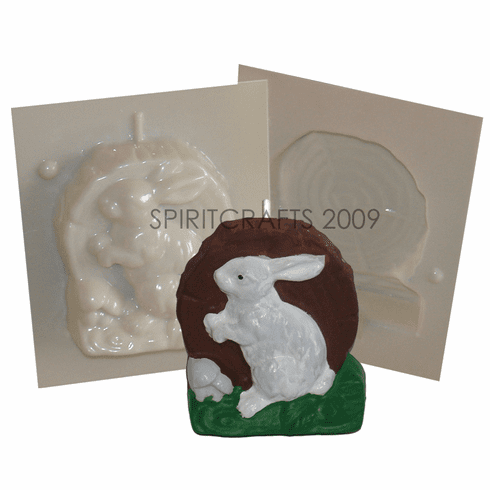 "RABBIT ON LOG <BR>CANDLE MAKING MOLD<BR> (4"" HT, 12 oz)"