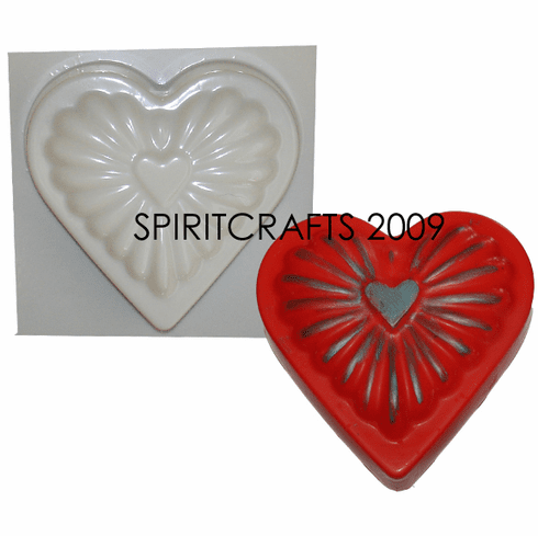 """RADIANT HEART CANDLE MAKING MOLD (6.5"""" x 1.75"""", 1 lb 4 oz)"""
