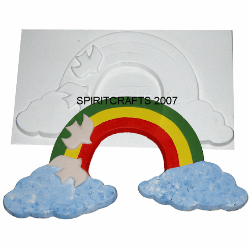 "RAINBOW WITH PEACE DOVES PLASTER MOLD (17"" x 9"")"