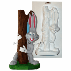 "RASCALLY RABBIT BOOKEND PLASTER MOLD (10.75"" HT)"