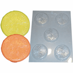 ROUND CITRUS SLICES CANDLE EMBED / CANDY MOLD (5 WELL)