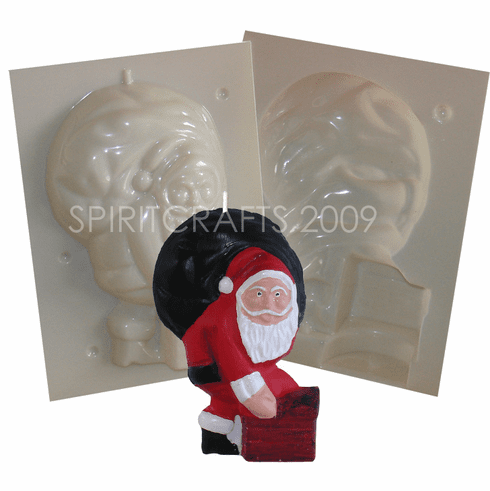 "SANTA ON CHIMNEY CANDLE MOLD (7"" HT, 1 lb 8 oz)"