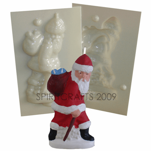 """SANTA WITH CANE <br>CANDLE MOLD<br> (5"""" HT, 4 oz)"""