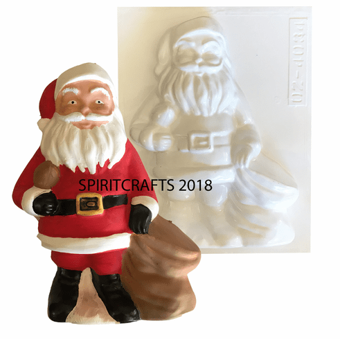 """SANTA WITH TOY SACK CHRISTMAS PLASTER MOLD (10"""" HT)"""