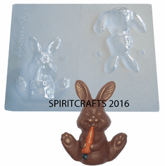 """SEATED BUNNY WITH CARROT CHOCOLATE MOLD (4"""" HT)"""