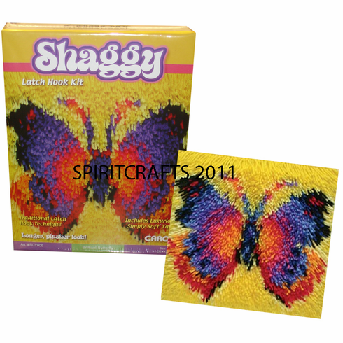"SHAGGY BUTTERFLY LATCH HOOK RUG KIT (12"" SQR)"