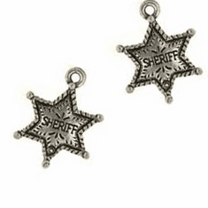 "SHERIFF STAR PEWTER CHARM BEADS, .8"" x .6"""