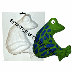 "SITTING FROG PLASTER CRAFT MOLD (8.5"" TALL)"