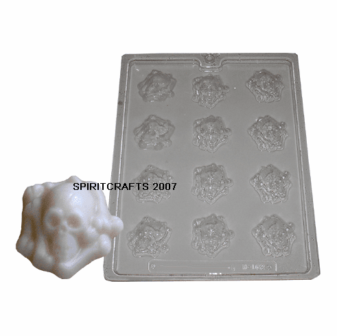 SKULL AND BONES CANDLE EMBED / CANDY MOLD (12 on 1)