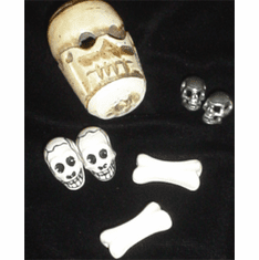 SKULL BEADS AND PEWTER SKULL BEADS