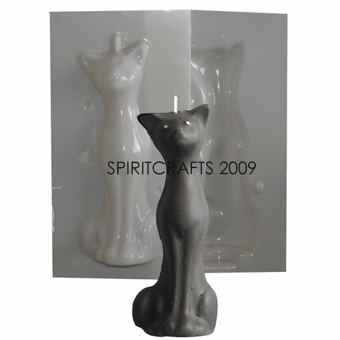 "SMALL / ALTAR SIZE TALL CAT CANDLE MOLD (5.25"" HT)"