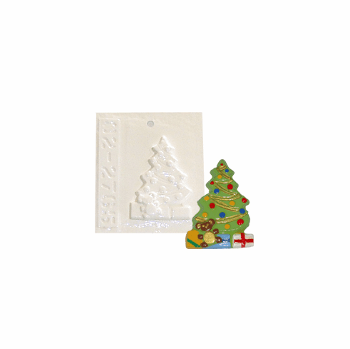 """SMALL CHRISTMAS TREE WITH PRESENTS PLASTER MOLD (3"""" HT)"""