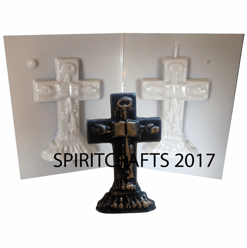 "SMALL DECORATED CROSS CANDLE MOLD (4.5"" HT,  2.5 oz)"