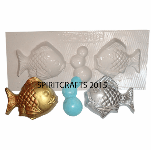 SMALL FISH WITH BUBBLES PLASTER MOLD (TWO FISH)