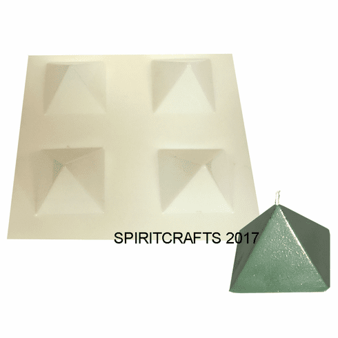 """SMALL FOUR WELL PYRAMID CANDLE MOLD (2 1/8"""" BASE, 1.5"""" TALL)"""