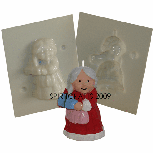 """SMALL MRS CLAUSE <br>CANDLE MOLD<br> (3.25"""" HT, 2.25 oz)"""