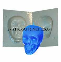 """SMALL SKULL PLASTIC CANDLE MAKING MOLD (4 1/8"""", 12 oz)"""