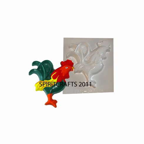 "SMALL STYLIZED ROOSTER PLASTER MOLD (6"" x 6.5"")"
