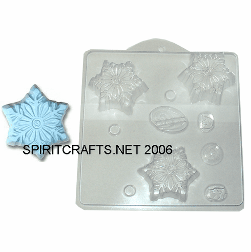 SNOWFLAKE SOAP MAKING MOLD, 3 WELL