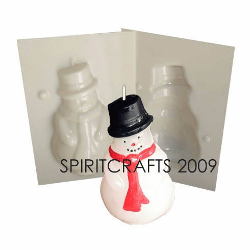 """SNOWMAN WITH SCARF CANDLE MAKING MOLD (4.5"""" HT, 6.5 oz)"""