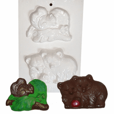 "SQUIRREL AND BEARS PLASTER CRAFT MOLD (4.5"" x 3"")"
