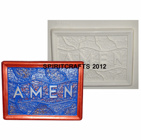"""STAINED GLASS AMEN PLASTER MOLD (7.25"""" x 5.25"""")"""