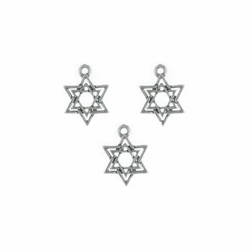 "STAR OF DAVID PEWTER CHARMS / BEADS, .7"" DIA"