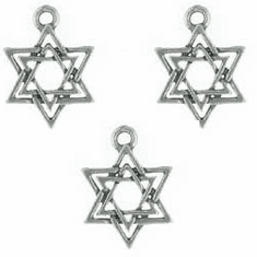 """STAR OF DAVID PEWTER CHARMS / BEADS, .7"""" DIA"""