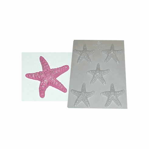 STARFISH CANDLE EMBED / CANDY MOLD (5 WELL)