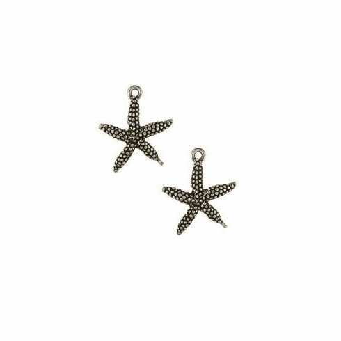 "STARFISH PEWTER CHARM BEADS, .8""  x .7"""