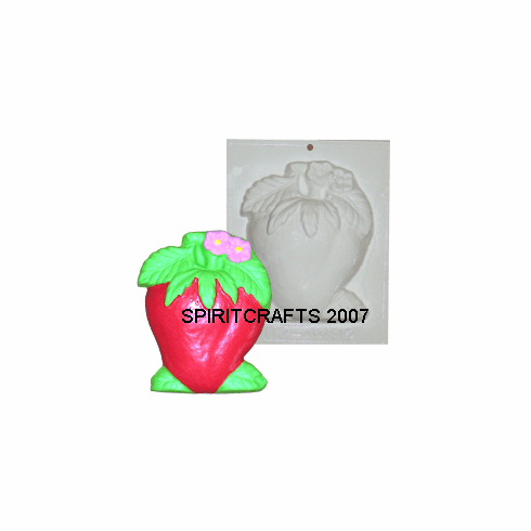 "STRAWBERRY WITH FLOWER PLASTER MOLD (5.25"" x 6.25"")"