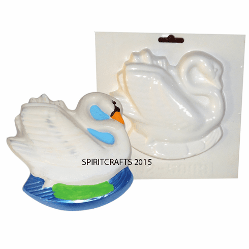 """SWAN IN POND PLASTER CASTING MOLD (5.75"""" x 5.5"""")"""