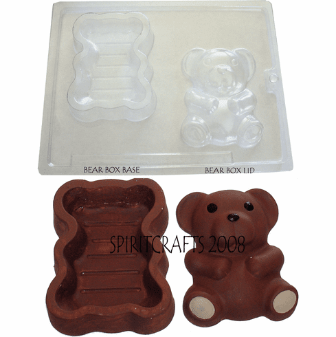 "TEDDY BEAR BOX PLASTER / CHOCOLATE MOLD (3.25"" x 4.25"")"