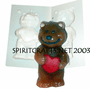 "TEDDY BEAR HEART <BR>PLASTIC CANDLE<BR> MOLD<BR> (4"" HT, 4 oz)"
