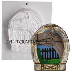 "THOROUGHBRED AND HORSESHOE PLASTER MOLD (4.75"" x 5.75"")"