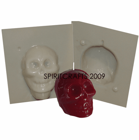 "TINY SKULL PLASTIC CANDLE MOLD (2"" HT, 3,5 oz)"