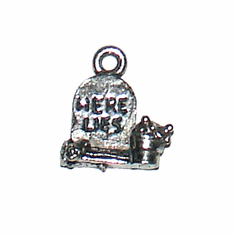 "TOMBSTONE PEWTER HALLOWEEN CHARM (0.6"" x 0.45"")"