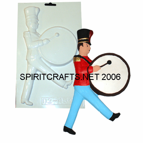 """TOY SOLDIER WITH DRUM PLASTER CRAFT MOLD (10.25"""" HT)"""
