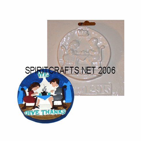 """WE GIVE THANKS PLASTER CRAFT MOLD (4"""" DIA)"""