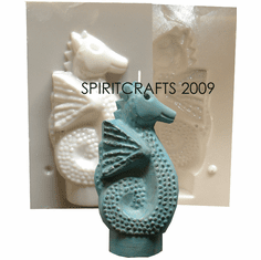 """WINGED SEAHORSE <br>CANDLE MOLD <br>(6"""" HT, 10 oz)"""
