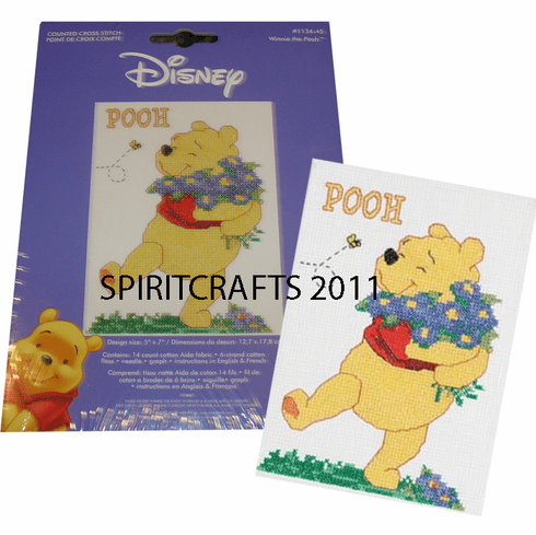 """WINNIE THE POOH COUNTED CROSS STICH KIT(5"""" x 7"""")"""