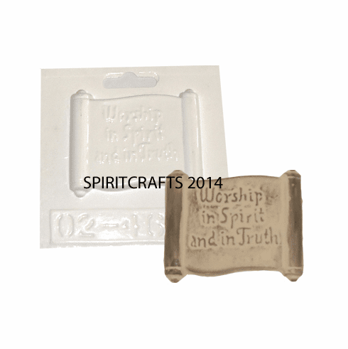 "WORSHIP IN SPIRIT AND IN TRUTH PLASTER MOLD (3"" x 2.5"")"