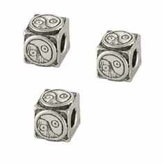 "YIN YANG CAST PEWTER BEADS, .2"" CUBE"
