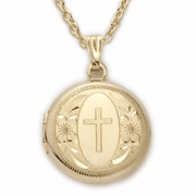 24K Gold over Sterling Silver Locket with engraved cross - Click to enlarge