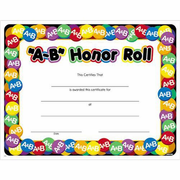 A-B Honor Roll Certificates (9-Series) - 8 1/2 x 11 - Click to enlarge