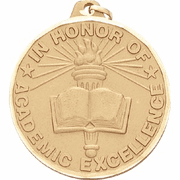 Academic Excellence (Book & Torch) - 2 Inch Diamond Cut Edge Medal with Ribbon - Click to enlarge