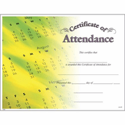 Attendance Certificates - Click to enlarge