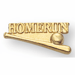 Home Run Baseball Letter Jacket Lapel Pins - Click to enlarge