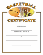 Basketball Certificates - Click to enlarge