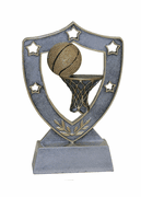 Star Shield Engraved Trophy - Basketball - Click to enlarge